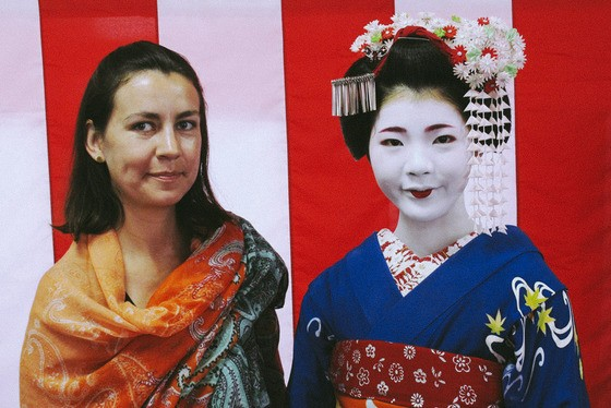 Dressed up for Geisha Show in Kyoto, Japan