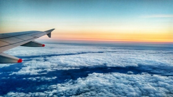 flight sunset plane