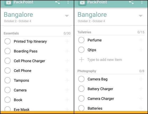 my guide to bangalore packpoint app