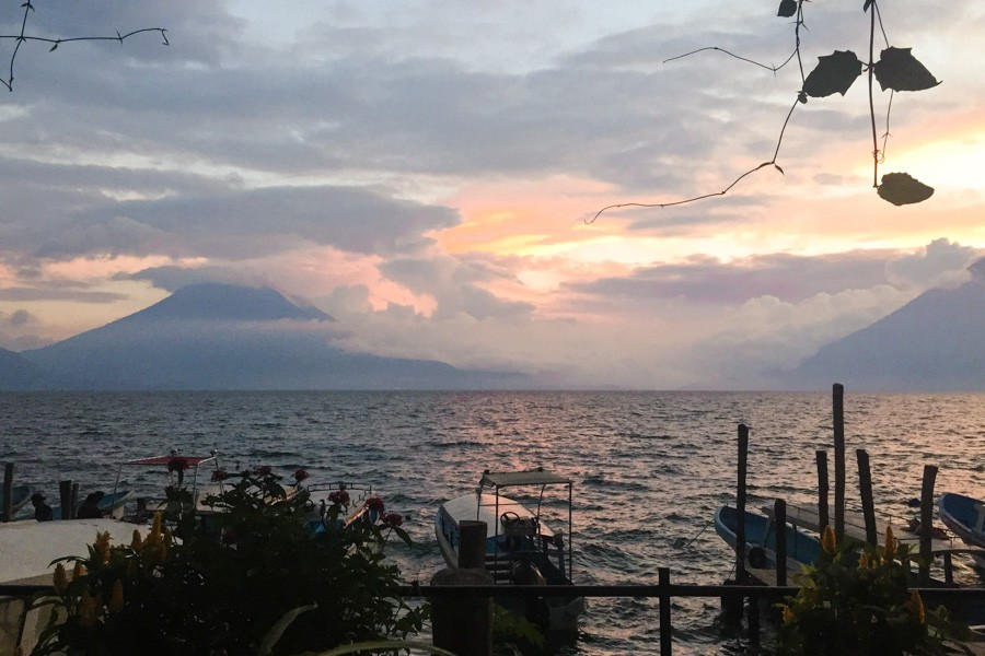 sunset lake atitlan guatemala