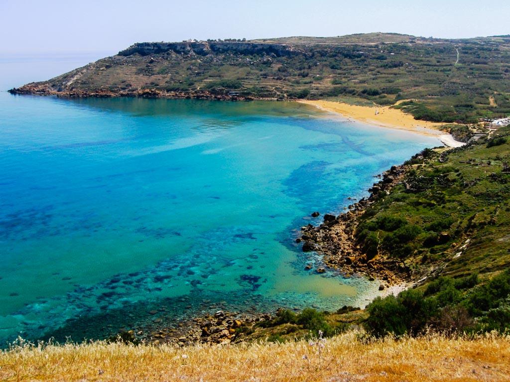 View of Ramla Bay in Gozo, Malta