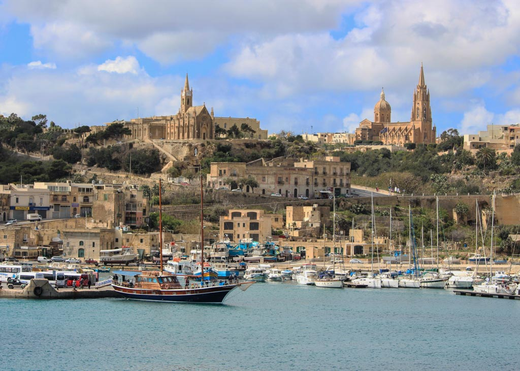 View of the Mgarr Harbour as it welcomes visitors to Gozo, Malta