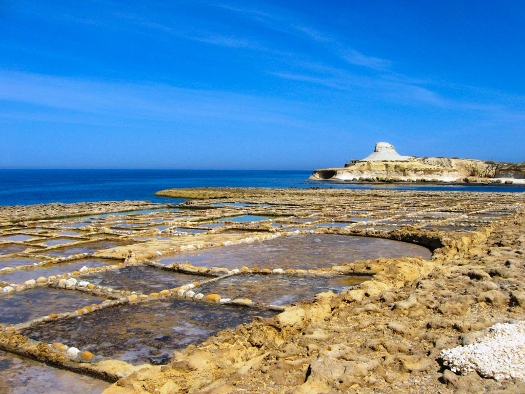 The Salt Pans, which are still in use today, found in Qbajjar, Marsalforn, Island of Gozo