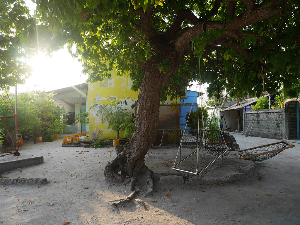 Jorli communal space on Gaafaru, Maldives