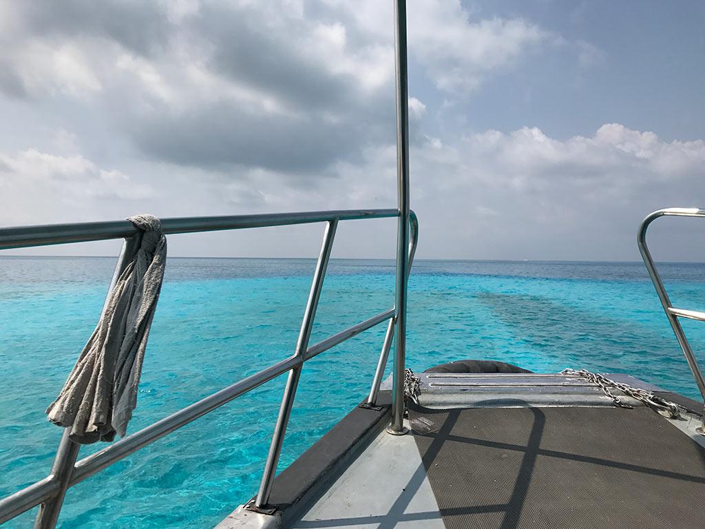 View from public ferry near Gaafaru, Maldives