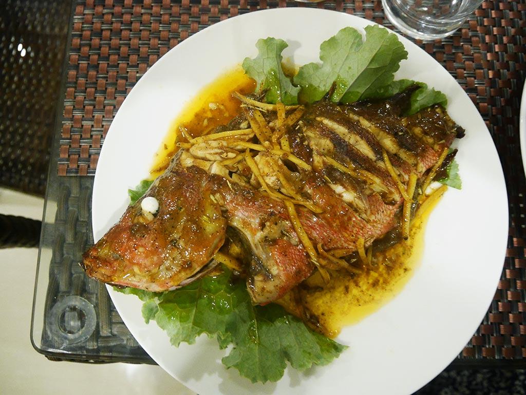 Freshly caught fish cooked in Mirian Sky Hotel, Gaafaru, Maldives