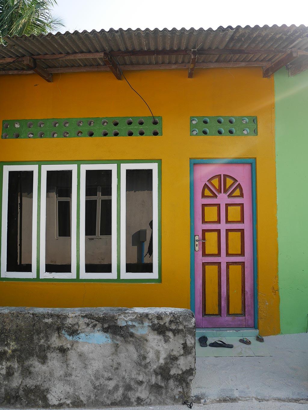 Colourful houses on Gaafaru, Maldives
