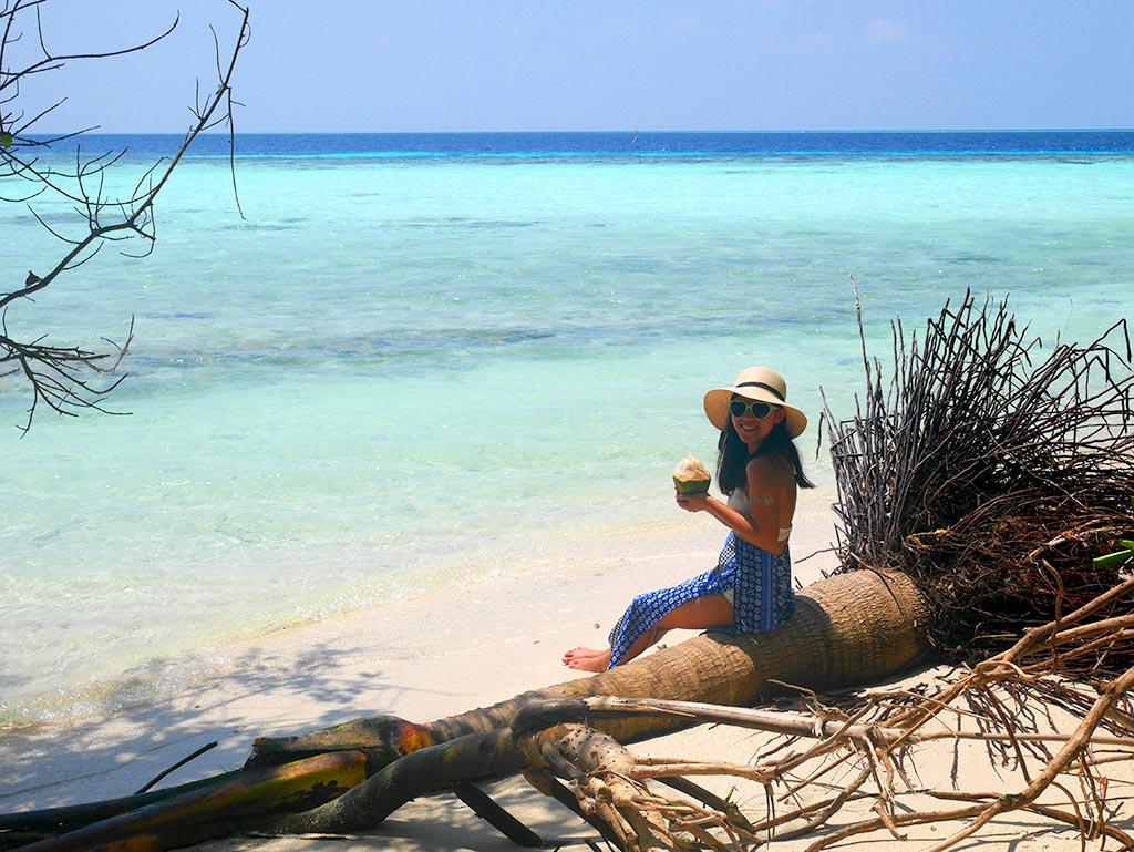 coconut on beach, picnic island, Maldives