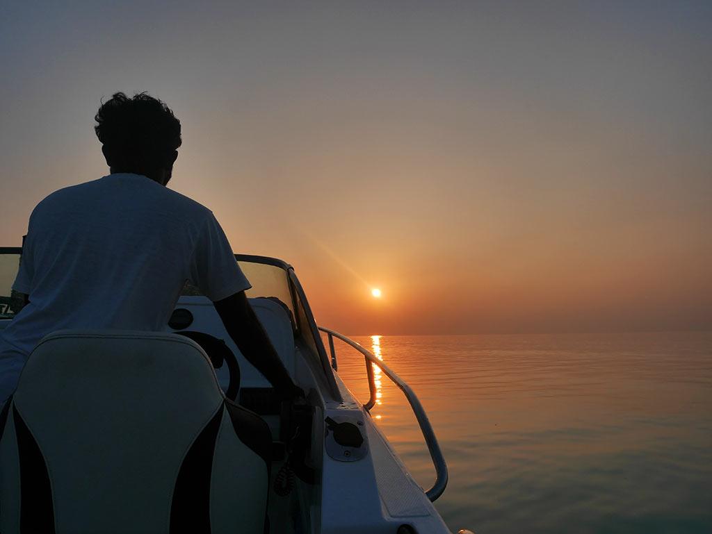 sunset speed boat to fishing, Gaafaru, Maldives