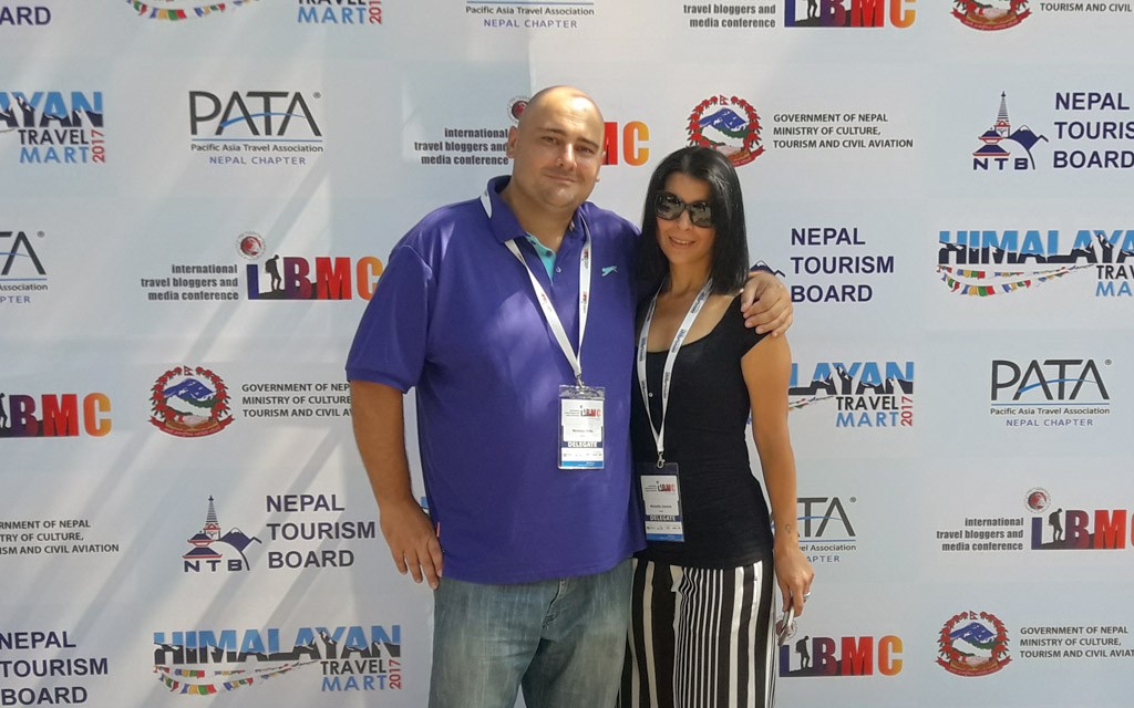 Michelle and Nikki at the ITBMC - Himalayan Travel Mart