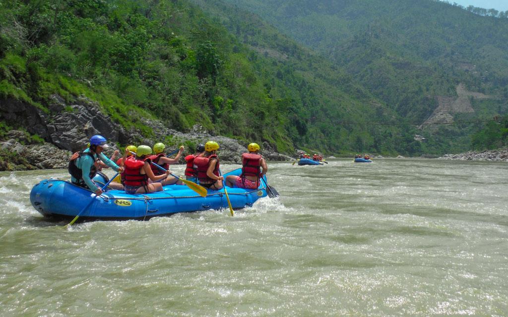 Rafting adventure before starting off trekking in Nepal