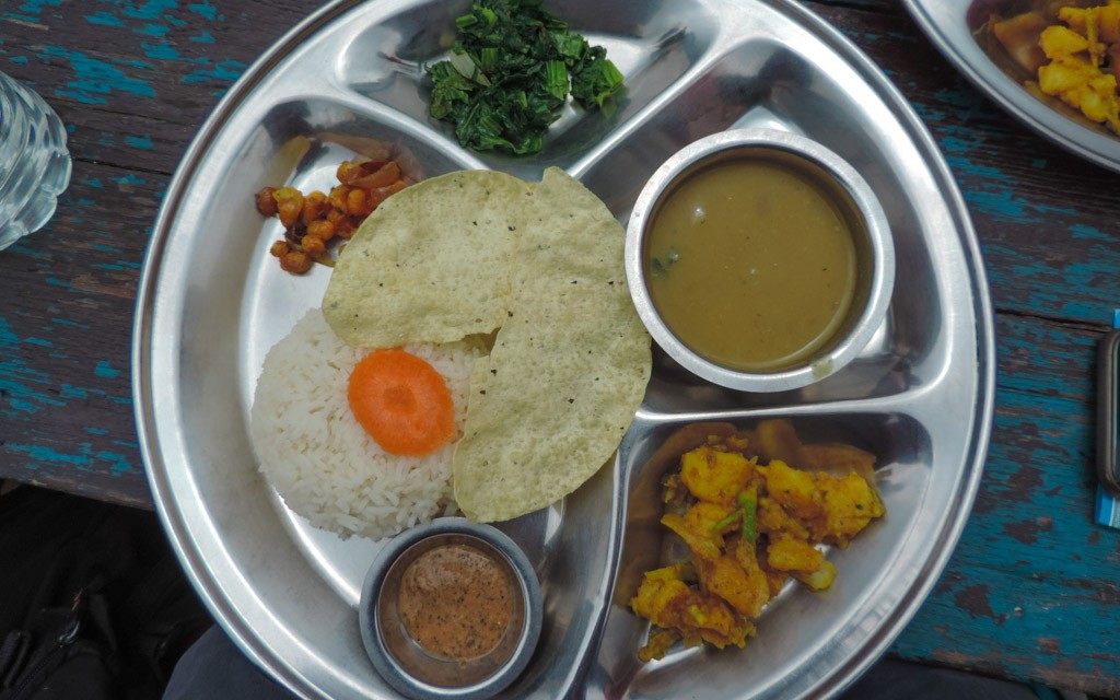 Dal Bhat a typical delicacy whilst trekking in Nepal