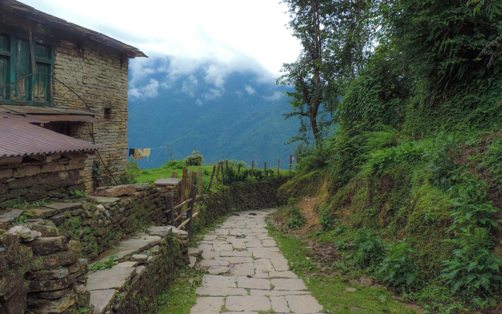 A paved path encountered whilst trekking in Nepal