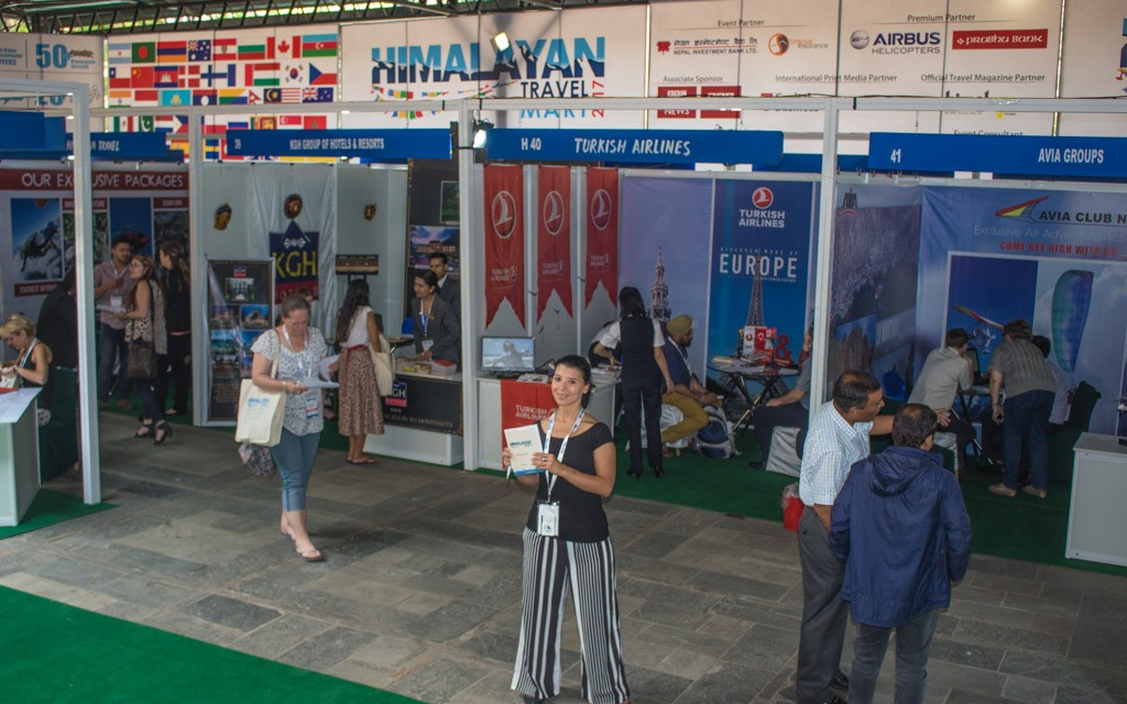 Michelle at the Buyers and Sellers stand at the Himalayan Travel Mart