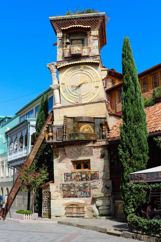 crooked clock tower in Tbilisi