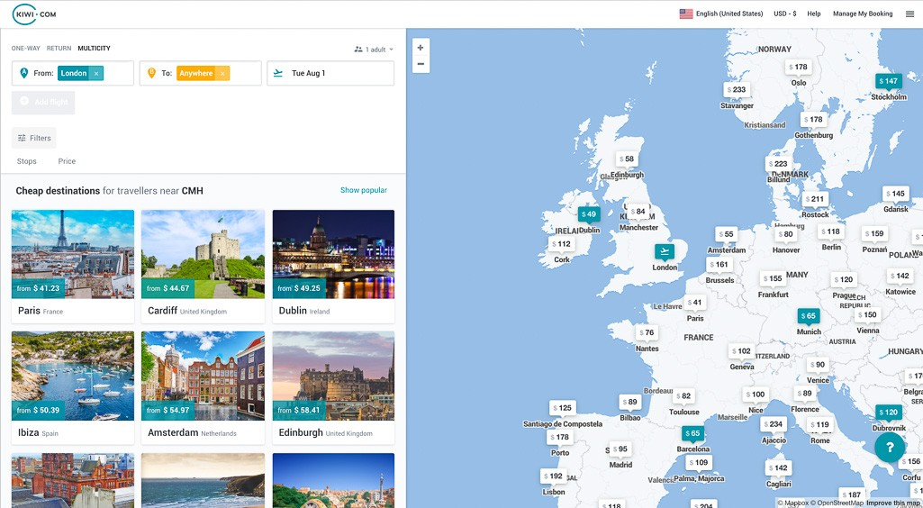 using kiwi to backpack europe by flight cheap