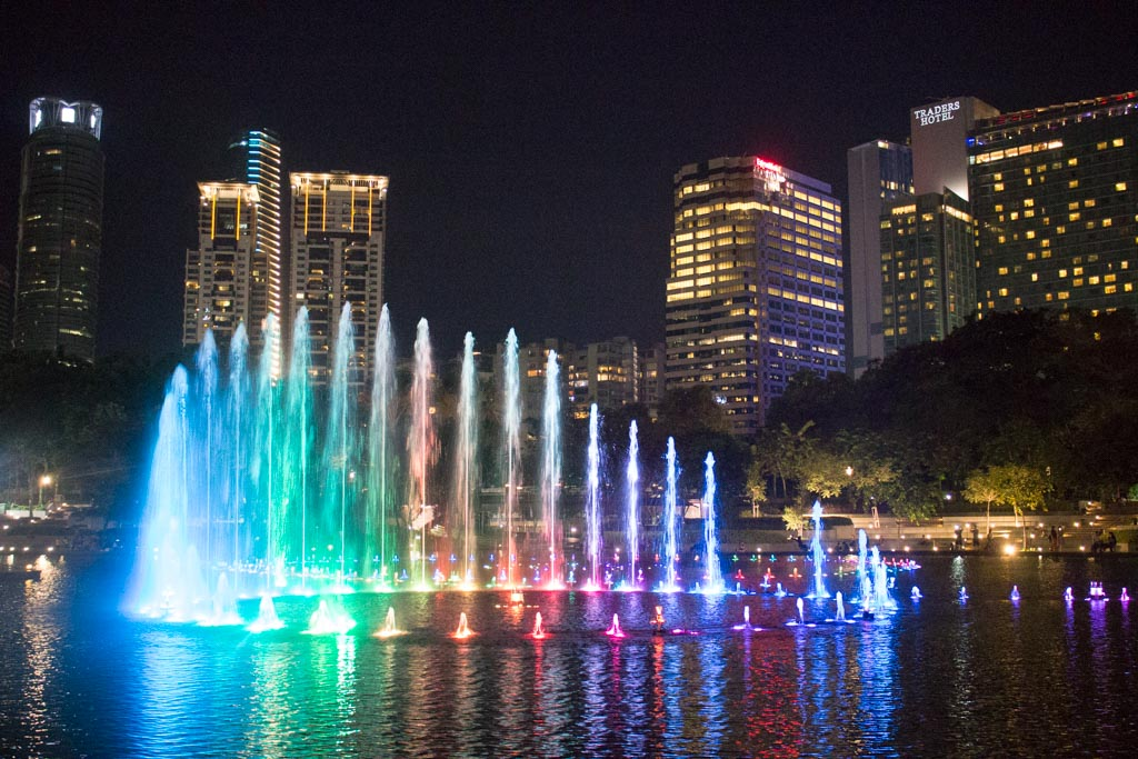 KLCC Fountain in KL - travel expenses in southeast asia