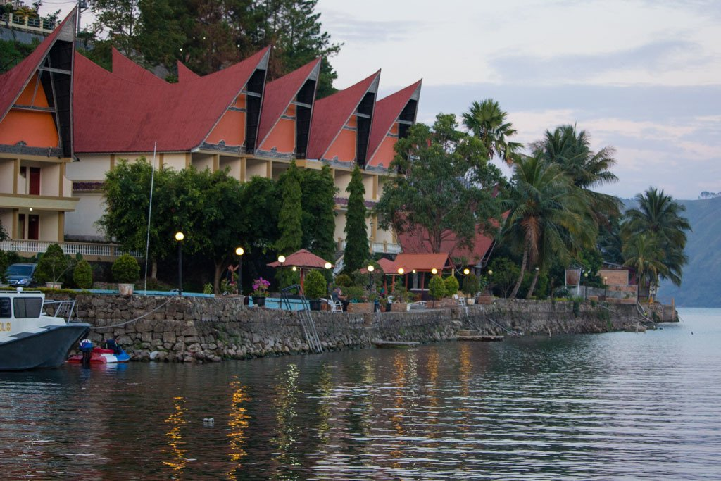 Lakefront accommodation at Lake Toba - travel expenses in southeast asia