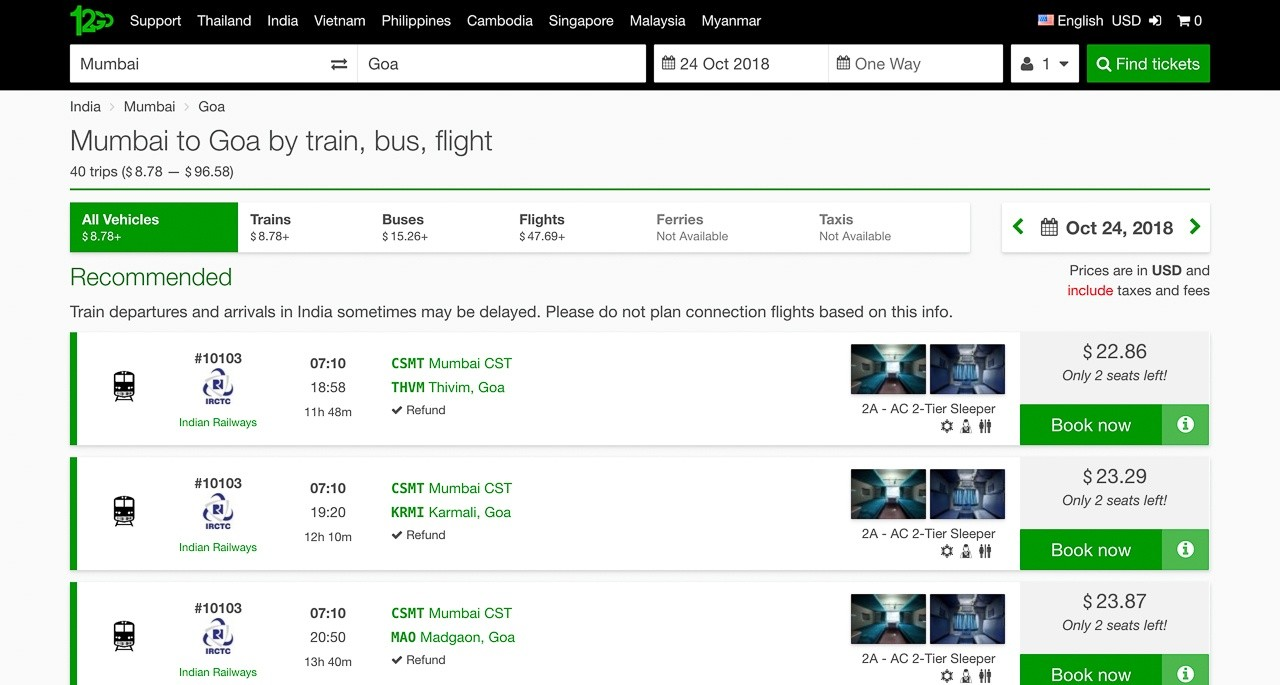booking a train in india as a forieigner