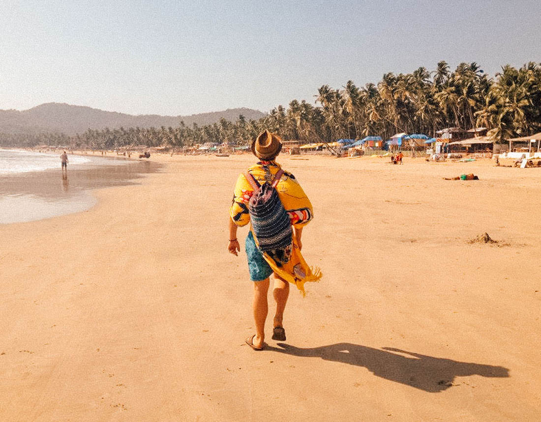 Walking on Palolem Beach, Goa, India
