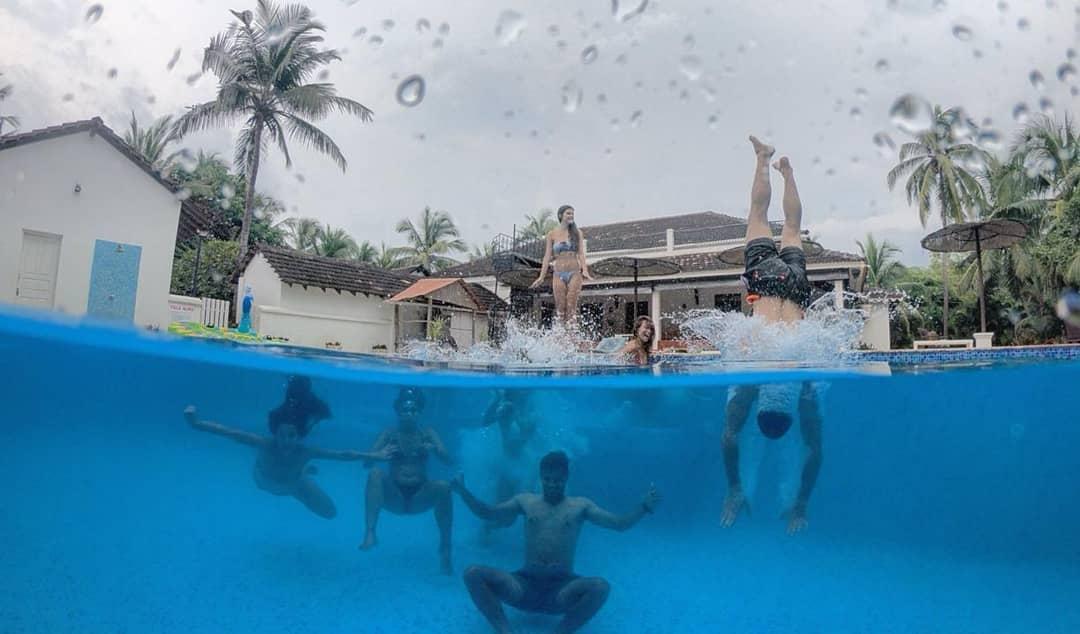 Goa Jumping In Swimming Pool Villa Alina