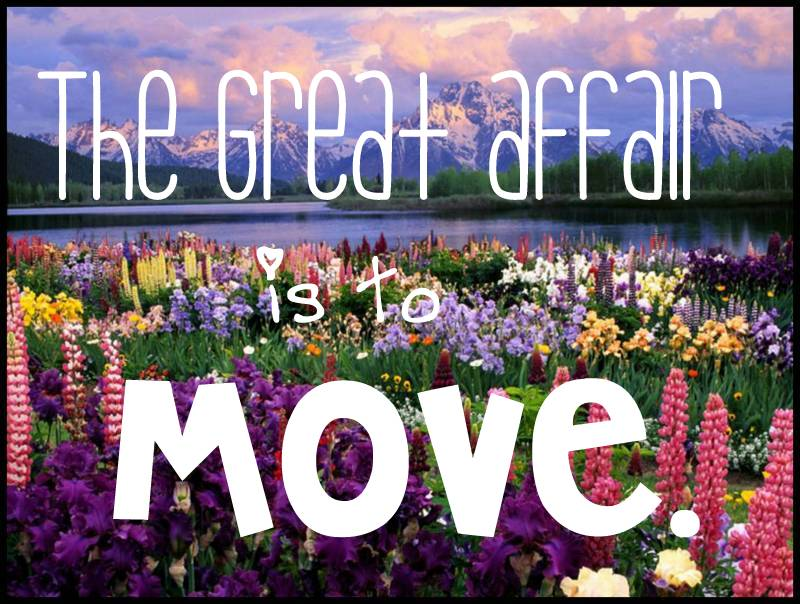the great affair is to move